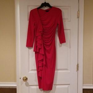 Donna Karan Red Ruffle Cocktail Dress - Size 6